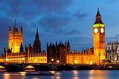 House of Parliament and Big Ben River Thames Landmark of London England United Kingdom at Dusk poster