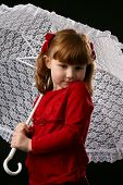 Child In Red Holding White Lace Parasol