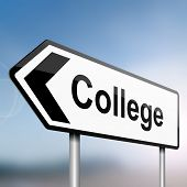stock photo of post-teen  - illustration depicting a sign post with directional arrow containing a college concept - JPG