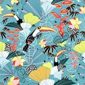 pic of toucan  - seamless pattern with tropical toucans and hummingbirds on a blue background - JPG