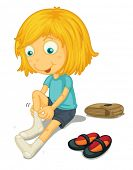 Illustration of girl putting on shoes