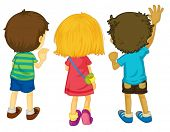 Illustration of 3 kids with backs facing