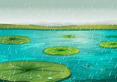 Постер, плакат: Дождь на лилий EPS ВЕКТОРНЫЙ формат также доступны в моем портфолио
