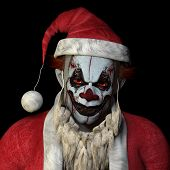 picture of humbug  - Scary Santa clown glaring at you.