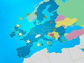 European Union Map With Golden Star