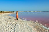 Woman wearing elegant summer dotted dress walks at bank of salty pink lake with crystals of salt. Ex poster