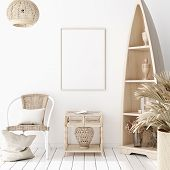Mock-up Poster Frame In Decorated Room, Scandinavian Style, 3d Illustration poster