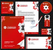 Business style, corporate identity template 7 (red industrial):  blank, card, pen, cd, note-paper, envelope
