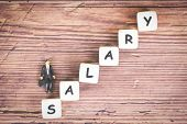 Payroll And Salaries Ladder Increase Growth Money Coins On Table And Success Concept / Salary Text B poster