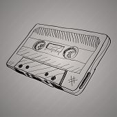 hand-drawn cassette tape. vector illustration on grey