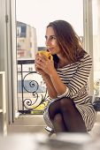 Woman Drinking  Coffee At Home. Woman Relaxing With Coffee At Home. Modern Lifestyle. Beautiful Woma poster