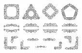 Text Frame Monogram, Divider Corner Set. Fancy Elegant Wedding Decor. Floral Ornament, Flower Elemen poster