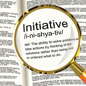 Initiative Definition Magnifier Showing Leadership Resourcefulness And Action