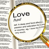 Love Definition Magnifier Showing Loving Valentines And Affection