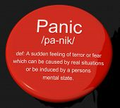 Panic Definition Button Showing Trauma Stress And Hysteria