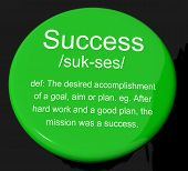Success Definition Button Showing Achievements Or Attainment Of Wealth