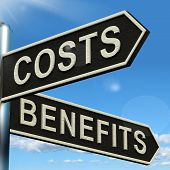 Costs Benefits Choices On Signpost Showing Analysis And Value Of An Investment