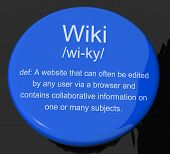 Wiki Definition Button Showing Online Collaborative Community Encyclopedia