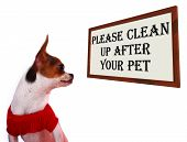 stock photo of excrement  - Please Clean Up After Your Pet Dogs Sign - JPG
