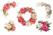 Set Of 6 Bouquets, Bouquets Of Eustomas, Roses. Floral Arrangements - Wreaths, Bouquets, Buttonholes poster