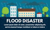 City Flood Disaster Concept Banner. Flat Illustration Of City Flood Disaster Vector Concept Banner F poster