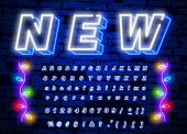White Neon Font. Neon Light 3d Alphabet, Extra Glowing Font. Exclusive Swatch Color Control. poster
