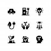 Simple Set Of Ecology Vector Glyph Icons Including Electric Car, Charging Station, Eco Bulb, Eco Plu poster