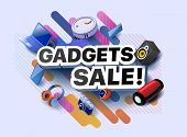 Modern Banner Of Gadgets Sale Products. Vector Illustration Of A Business Poster With Different 3d I poster