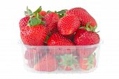 Punnet Of Strawberries Isolated On White