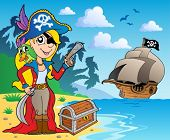 Pirate girl on coast 2 - vector illustration.
