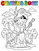 Coloring book with pirate topic 9 - vector illustration.