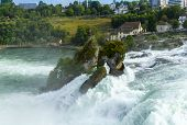 Neuhausen Am Rheinfall, Switzerland - 06 August 2019. Waterfall On The River Rhine In The City Neuha poster