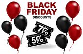 Balloon And Vouchers At Discounted Prices On A White Background, The Creative Concept Of A Black Fri poster