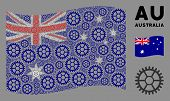 Waving Australia Official Flag. Vector Clock Wheel Pictograms Are Organized Into Geometric Australia poster