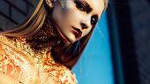 Golden Witch. Halloween Party Art Design. Halloween Design Make Up. Golden Hairstyle And Make Up For poster