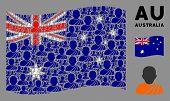 Waving Australia Official Flag. Vector Buddhist Monk Elements Are Arranged Into Geometric Australia  poster