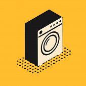 Isometric Washer Icon Isolated On Yellow Background. Washing Machine Icon. Clothes Washer - Laundry  poster