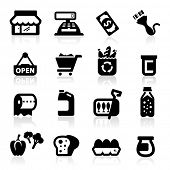 Supermercado icons set elegante serie