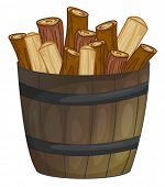 illustration of a barrel of wood
