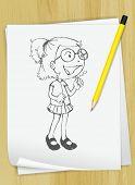 Ilustración realista de un dibujo de una niña en un pedazo de papel