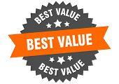 Best Value Sign. Best Value Orange-black Circular Band Label poster