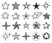 Sketch Stars. Cute Star Shapes, Black Starburst Doodle Signs For Christmas Decoration Isolated Vecto poster