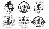 Extreme Freeride Retro Logo Templates Set, Bicycles Extreme Challenge Monochrome Badges Vector Illus poster