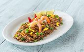 Dish Of Pad Thai - Thai Fried Rice Noodles On The Wooden Background poster