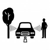 Driverless Car Object Detection Icon. Simple Illustration Of Driverless Car Object Detection Vector  poster