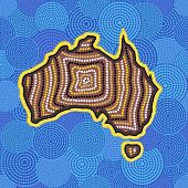 Australian Aboriginal Art Seamless Vector Pattern With Dotted Circles, Australia Map And Crooked Str poster