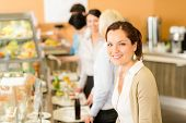 Business woman take cafeteria lunch smiling carry serving tray