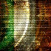 image of irish flag  - irish flag waving in the wind with some folds - JPG
