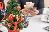 Manager Gets A Bonus Money On Workplace In Christmas Eve poster