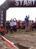 POCONO MANOR, PA - APR 29: Participants gather at the starting line to prepare at Tough Mudder on Ap